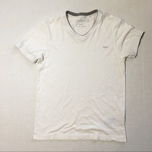 Men's Guess White V Neck Top